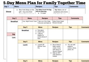 complete menu plans for family vacation