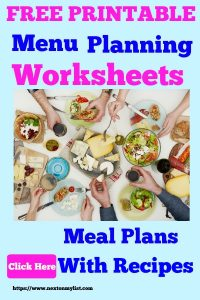Free Menu Worksheets