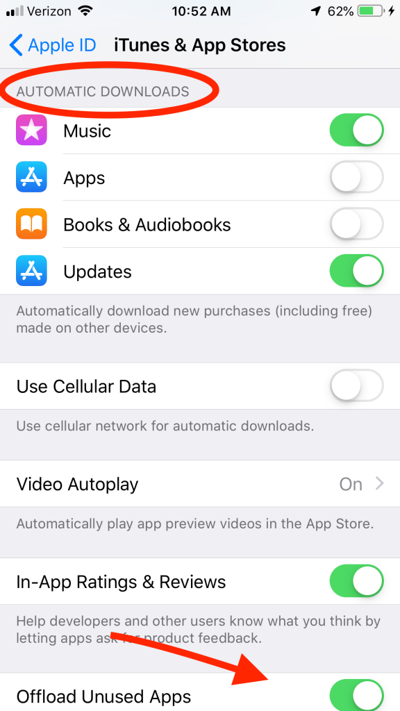 automatic downloads on iPhone