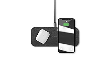 Courant Catch:2 Multi-Device Wireless Charger, Qi Certified, Fast-Charging, Italian Leather, Compatible with iPhone 11 Pro/11 Pro Max/11/Xs/XS Max/XR/X/8/8-Plus/AirPod 2/Android (Ash)