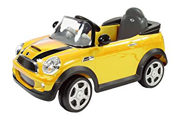 Rollplay 6V Mini Cooper Kid's Ride-On Car - For Boys & Girls Ages 3 & Up - Battery-Powered Ride-On Toy - Yellow