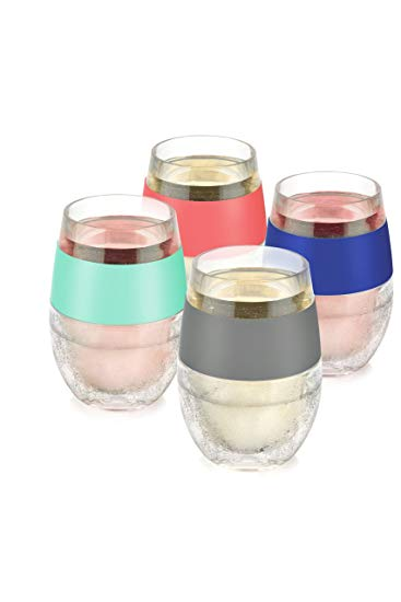 Host Freeze Stemless Red & White Wine Tumbler, Insulated Plastic Glass, Multicolor Silicone Bands Set of 4 Cups, 8.5 oz
