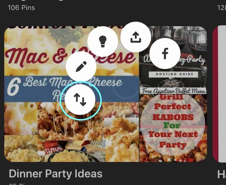 reorder pinterest boards on mobile device